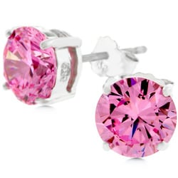 Kate Bissett Sterling Silver Round Pink Cubic Zirconia Stud ...