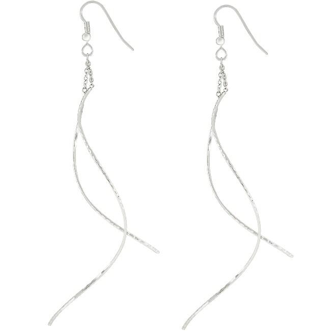 Kate Bissett Silvertone Dangling Drop Earrings