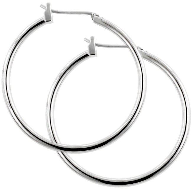 Kate Bissett Silvertone 1.5-inch Hoop Saddleback Earrings