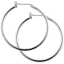 Kate Bissett Silvertone 1.5-inch Hoop Saddleback Earrings