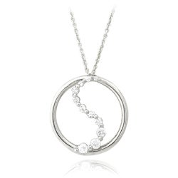 Icz Stonez Sterling Silver CZ Journey Circle Necklace