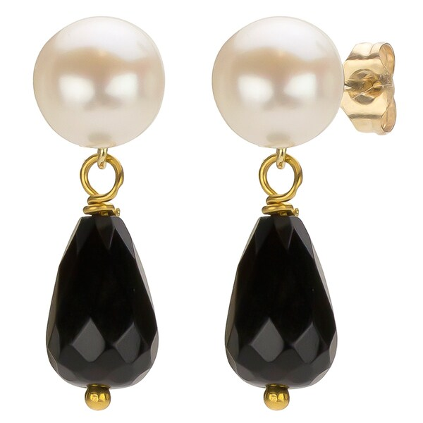 DaVonna 14k Gold White FW Pearl and Black Onyx Drop Earrings (6-6.5 mm)