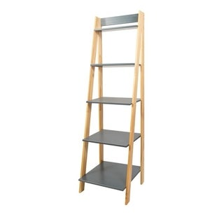 Porch & Den Silverado Natural/ Grey Solid Wood Split 5-shelf Ladder Unit