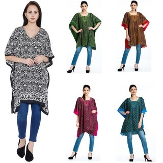 Women Boho Kaftan Tunic Plus Size Ladies Tops Long Sleeves Beach Cover Up