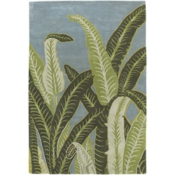 Hand-Tufted Contemporary Leaf Print Mandara Wool Area Rug (5' x 8')