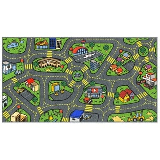 "Jungtier Retro City Traffic Car Road Map Educational Learning & Game Area Rug Carpet for Kids and Children Room, 2' 7"" x 5' 0"""