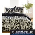 City Scene Branches Black 3-piece Duvet Cover Set