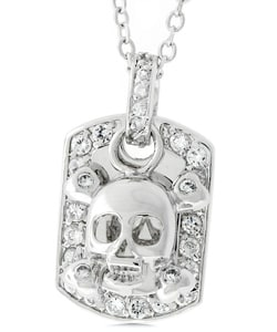 Kate Bissett Silvertone Skull and Crossbones Dog Tag Cubic Zirconia Necklace