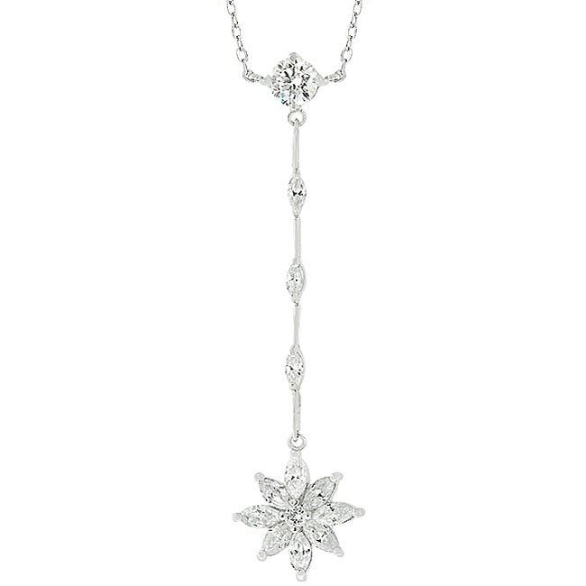 Kate Bissett Silvertone Flower Drop Cubic Zirconia Necklace