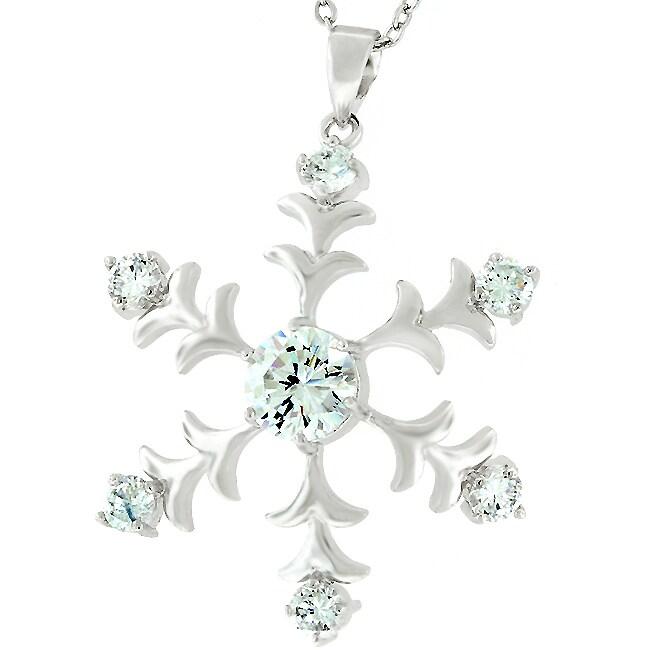 Kate Bissett Silvertone Snowflake Cubic Zirconia Pendant