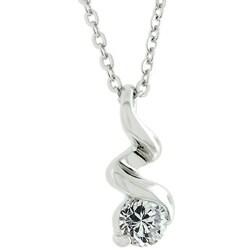 Kate Bissett Silvertone Cubic Zirconia Swirl Necklace