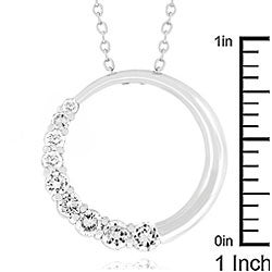 Kate Bissett Silvertone Cubic Zirconia Half Moon Necklace