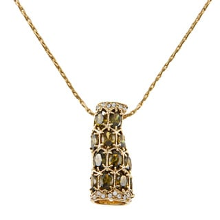 Kate Bisset Goldtone or Silvertone Olive CZ Cluster Necklace
