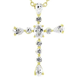 Kate Bissett Goldtone Cubic Zirconia Cross Necklace