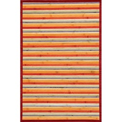 Handmade Transitional Rust Bamboo Rug (8' x 10')