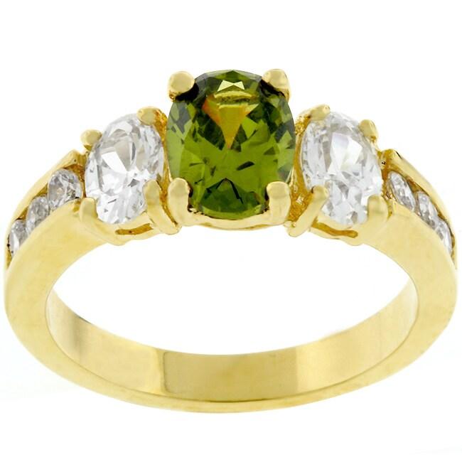 Kate Bissett Goldtone Olivine CZ 3-stone Bridal-inspired Ring