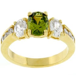 Kate Bissett Goldtone  Olivine CZ 3-stone Bridal-inspired Ring