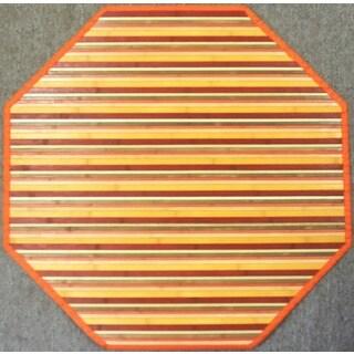 Rust Woven Bamboo Rug (5' Octagonal)