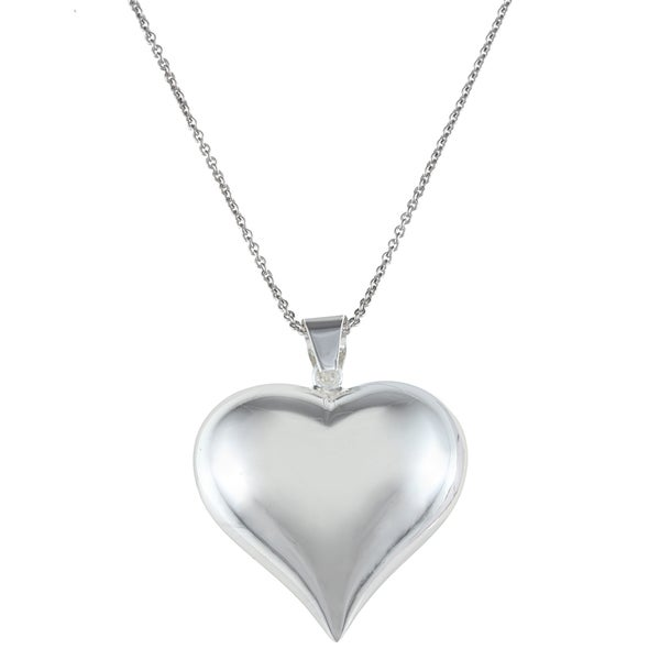 Mondevio Sterling Silver Puffed Heart Necklace
