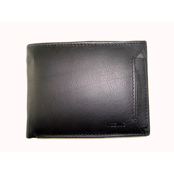 Kozmic Brand Men's Black Leather Bi-fold Wallet
