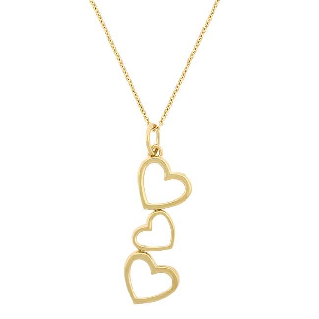 Mondevio 18k Gold over Silver Three Heart Dangle Necklace