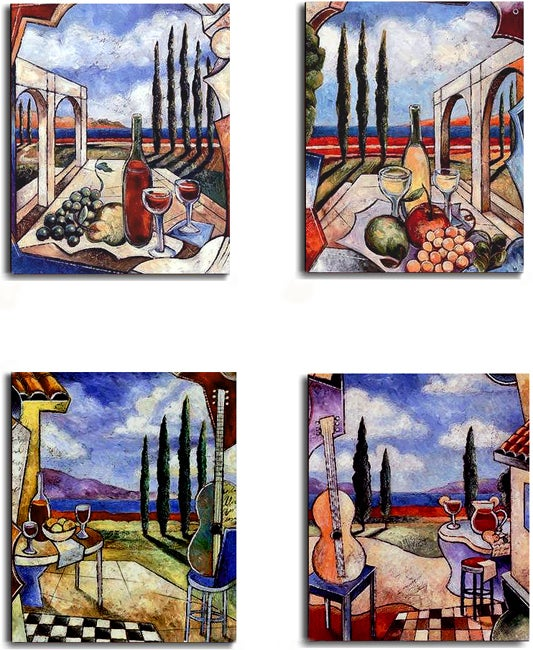 J. Milan 'Tuscan Patio' 4-piece Stretched Canvas Set