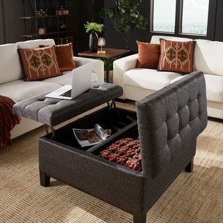 Denton Dark Grey Fabric Lift-Top Storage Ottoman with 2 Trays by iNSPIRE Q Classic