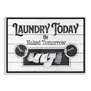 Stupell Industries Laundry Today Funny Bathroom Word Design Wood Wall Art