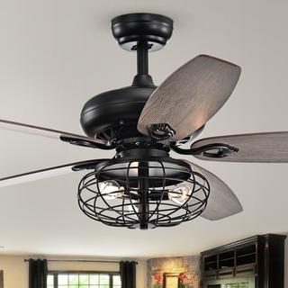 Joye Matte Black 52-Inch 5-Blade Lighted Ceiling Fan with Globe Metal Shade (optional Chrome Finish)
