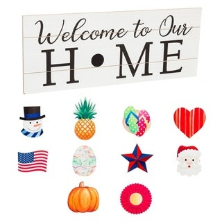 28-inch x 11-inch Wooden Welcome Sign w/ 10 Interchangeable Theme Pieces