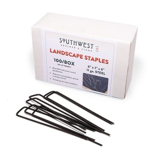 Landscape Staples 100-Pack 6-Inch, Heavy Duty Steel Garden Stakes for Weed Barrier Fabric Erosions Control & Irrgation Lines