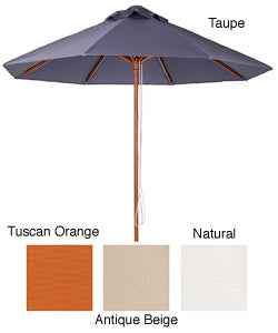 Premium 9-foot Round Hard Wood Patio Umbrella