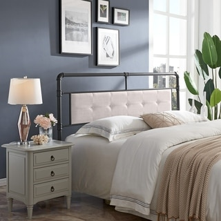 Cressy Modern Industrial Upholstered Headboard by Christopher Knight Home