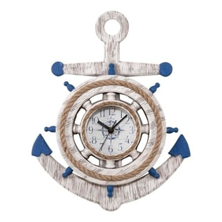 La Crosse Clock BBB84008 14 inch Blue & White Anchor Quartz Wall Clock