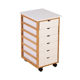Solid Bamboo Frame 6 Drawer Rolling Cart