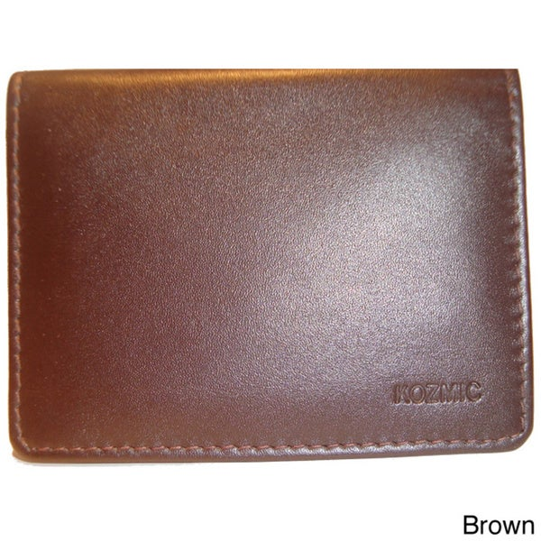 Kozmic Men's Hand-crafted Bifold Leather Business Card Holder
