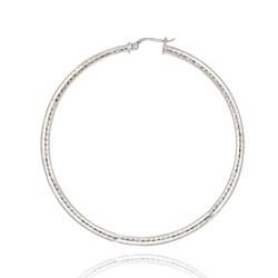 Mondevio Sterling Silver 60 mm Diamond-cut Hoop Earrings