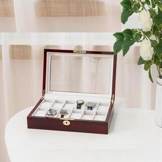 12 Slots Wooden Case Watch Box Display Glass Top Jewelry Storage Organizer Gifts