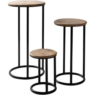 Carbon Loft Auriemma Iron and Wood Handcrafted Nesting Plant Stands (Set of 3) - Black