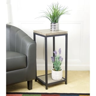 2 Tier Solid Bamboo Steel Frame Plant Stand