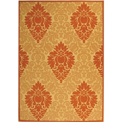 Indoor/ Outdoor St. Barts Natural/ Terracotta Rug (6'7 x 9'6)