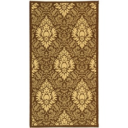 Indoor/ Outdoor Crescent Chocolate/ Natural Rug (2'7 x 5')