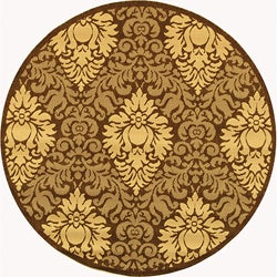 Safavieh Indoor/ Outdoor Crescent Chocolate/ Natural Rug (5'3 Round)