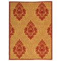 Indoor/ Outdoor St. Barts Natural/ Red Rug (4' x 5'7)