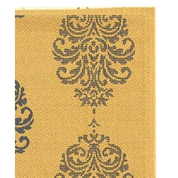 Safavieh Indoor/ Outdoor St. Martin Natural/ Blue Rug (4' x 5'7)