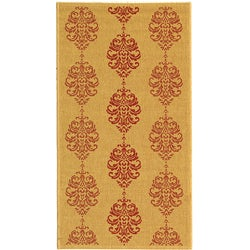 Indoor/ Outdoor St. Martin Natural/ Red Rug (2'7 x 5')