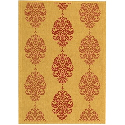 Indoor/ Outdoor St. Martin Natural/ Red Rug (4' x 5'7)
