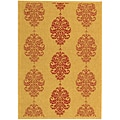 Indoor/ Outdoor St. Martin Natural/ Red Rug (6'7 x 9'6)