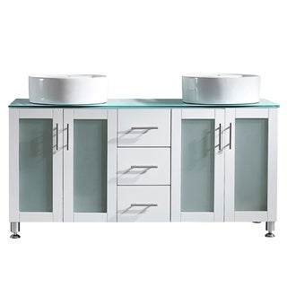 """Tuscany 60"""" Vanity in White with Glass Countertop with White Vessel Sink without Mirror"""