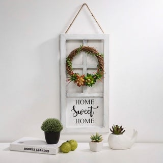 """Glitzhome 20""""H Wooden Door Frame Wall Decor with Wreath and Succulent Plants"""